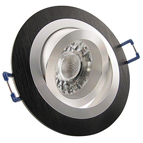 SONDERAKTION 1er Set Einbaustrahler NOBLE S2 rund Aluminium Schwarz 230V mit COB LED 5W = ca. 50W Warm-Weiß Decken Einbauleuchten Einbauspots drehbar schwenkbar