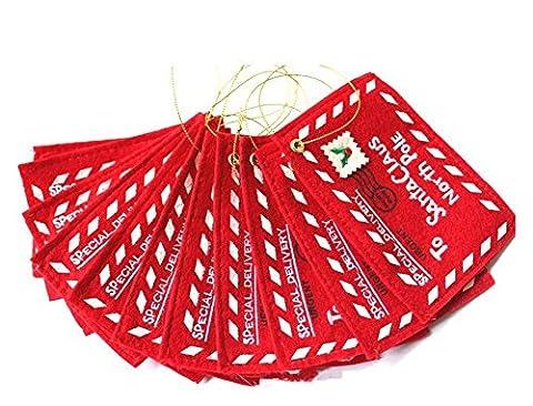 westeng 10Stück Umschlag Weihnachts-Umschlag Stickerei Brief an den Weihnachtsmann Ornament für Weihnachtsbaum