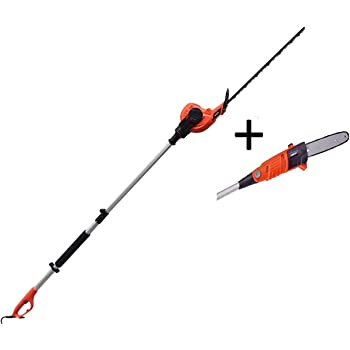 eSkde Electric Long Reach Telescopic Pole Chainsaw Pruner Hedge Trimmer Kit
