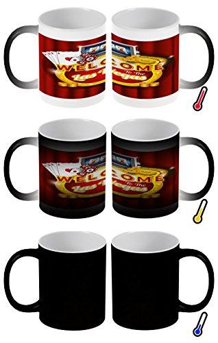 LEotiE SINCE 2004 Zaubertasse Farbwechseltasse Kaffeebecher Tasse Becher Latte Cappuccino Espresso Stadt Casino Las Vegas