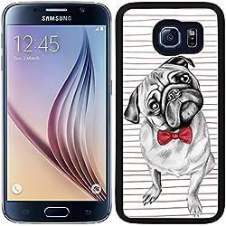 Funda carcasa para Samsung Galaxy S6 perro carlino con pajarita borde negro
