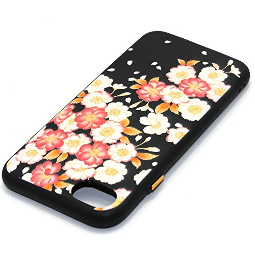 Linvei Hülle für Apple iPhone 7(4.7 Zoll) -Blumen muster Design/ TPU Silikon Backcover Case Handy Schutzhülle -Rote Blumen Design Rote weiße Blumen Design