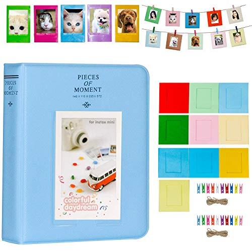 e Set Zubehör für Fujifilm Instax Mini Kamera, HP Ritzel, Polaroid Zip, Snap, Snap Touch Druckerfolien mit Film Aufkleber, Album & Rahmen (64 Taschen, Blau) ()