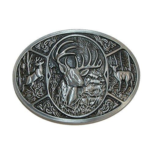 CTM - Hebilla de cinturón - para hombre plateado Silver Deer Talla única