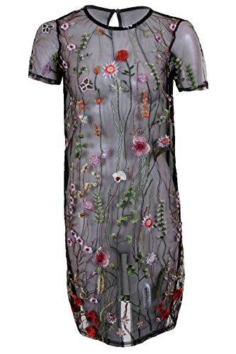 Fantasia BOUTIQUE manches courtes pour femmes maille transparent floral brodé DROIT ROBE VINTAGE Noir
