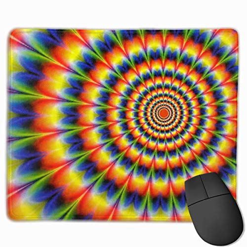Gaming-Mauspad, Mauspads Mouse Pad Psychedelic Dyed Radial Pattern Rectangle Non-Slip Unique Designs Gaming Rubber Mousepad Stitched Edges Mouse Mat 25 x 30cm for Notebooks,Desktop Computers -