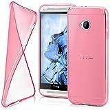 moex HTC One M7 | Hülle Silikon Transparent Rosa Clear Back-Cover TPU Schutzhülle Dünn Handyhülle für HTC One M7 Case Ultra-Slim Silikonhülle Rückseite