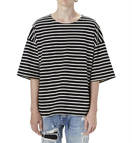 areshion Herren Übergroße lose Hipster Hip Hop Basic gestreift Crewneck Short Sleeve T-Shirt Gr. Größe XL((EU L), schwarz (Striped Shirt Crewneck)
