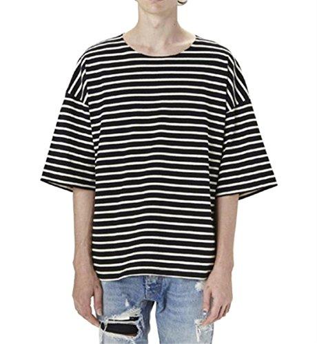 areshion Herren Übergroße lose Hipster Hip Hop Basic gestreift Crewneck Short Sleeve T-Shirt Gr. Größe XL((EU L), schwarz (Crewneck Striped Shirt)