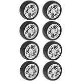 B Blesiya 10pcs Miniatur Felge Reifen Gummireifen Gummirad Ersatzteile Reparaturteile für Automodell