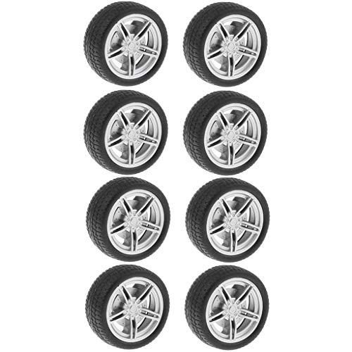 Homyl 10x Mini Autoreifen Felge Reifen Gummireifen für Spielzeugauto, ca. 30 mm
