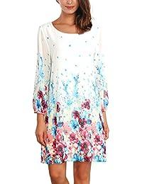 DJT-Vestido para Mujer de Chifon con Estampado Floral