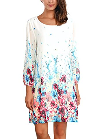 DJT Women's Casual Floral Print 3/4 Sleeve Round Neck Chiffon Loose Top Mini Dress White Small