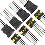 TOMALL 5 Pin Way 16 AWG Wasserdichten Stecker für Elektrische Schnellsteckdose 5 Draht Pigtail 1,5mm Serie (4er Pack)