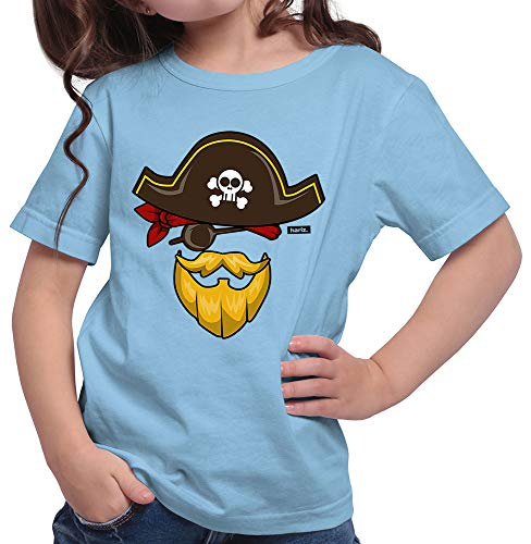 HARIZ  Mädchen T-Shirt Pirat Kostüm Karneval Kostüm Inkl. Geschenk Karte Himmel Blau 128/7-8 - Himmel Kostüm Pirat