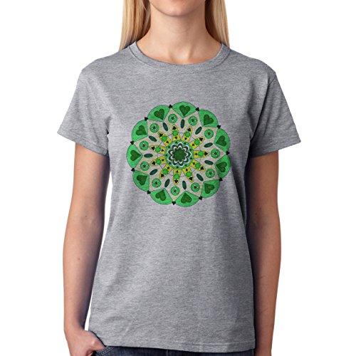 Mandala Flower Heart Green Round Damen T-Shirt Grau