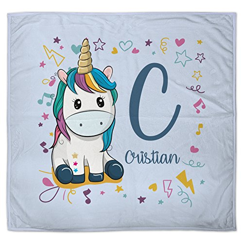 Lolapix Manta Bebé Personalizada Nombre Unicornio
