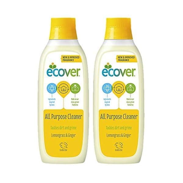 2 x ecover All Purpose Cleaner 1L 1 Litre - Lemon Grass & Ginger Scent - Eco Friendly Household Cleaner - Great for Ceramic Tiles, Kitchen worktops, Hardwood & Parquet Flooring. 1