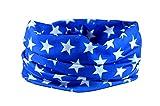 RUFFNEK® Multifunktioneller Halswärmer Bandana Schal Motorrad Kopfbekleidung Blaue Sterne - Einheitsgröße