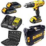 DEWALT 18V CORDLESS COMBI DRILL 2 SPEED XR LITHIUM COMPLETE WITH 3 LITHIUM BATTERYS AND FAST CHARGER COMPLETE KIT