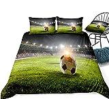 3D Calcio della lettiera di Calcio sul Campo da Campo Verde Set Teens Cover Home Textiles Tessuti per la casa Nero Bianco Adolescenti Dorpshipping