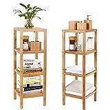 HOMFA Bambus Badregal Standregal Blumenregal Bambus 2x Küchenregal Schuhregal Gartenregale Blumenständer 33x 33 x 99cm