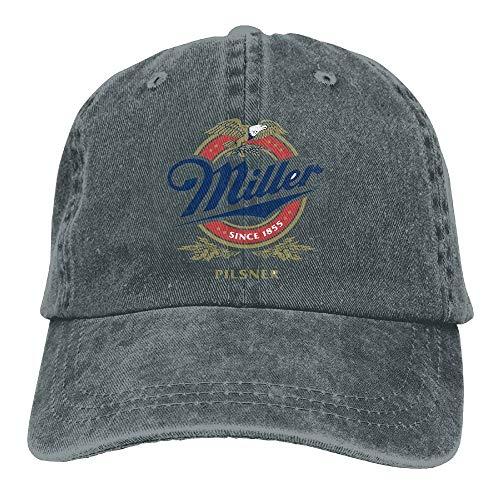 54f13b1f1abf5 WYICPLO 2019 Funny Hip Hop Adult Denim Hat Miller Beer Logo Adjustable  Baseball Cap