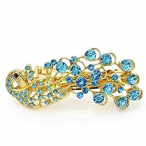 Bijoux de cheveux pince Bijou de tête Cristal Femme Bleu Paon Pavis