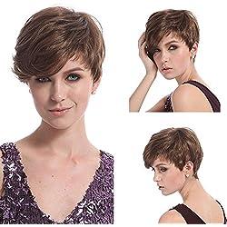 Hrph 28cm de la manera atractiva de las señoras de Bob peluca sintética Mujeres inclinado Frisette Cabello corto Cosplay