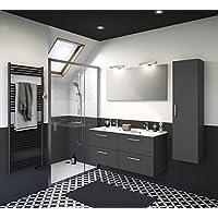 Experts du bain, Meuble de rangement salle de bain à tiroirs, gris foncé, double vasque 120 cm avec miroir et éclairage