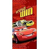 BERONAGE Großes Cars Badetuch - Motiv Triple Win 75 cm x 150 cm Strandlaken Strandtuch Handtuch Duschtuch Badelaken Velourstuch - 100% Baumwolle Disney Pixar Auto-Rennen Passend zur Bettwäsche