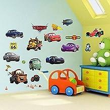 Cars 3D Cartoon pegatinas de pared para dormitorios niños y niñas etiqueta mural Tamaño: Grande 76 cm X 72 cm