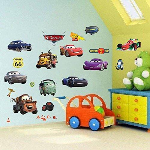 Cars 3D Cartoon Wandaufkleber für Schlafzimmer Jungen und Mädchen Wandbild Aufkleber Größe: Groß 76 cm X 72 cm Cars Film-wand-aufkleber