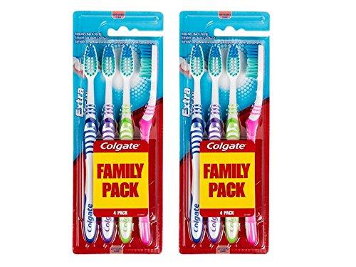 Colgate Extra Clean Zahnbürste, Stärke: weich, 2er-Pack mit je 4 Stück