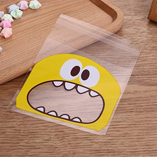 Lebensmittel OPP Transparent Taschen Nette Große Mund Druck Candy Kuchen Selbstklebende Tasche für Party (Gelb-S) ()