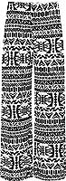 Plus Size Womens Floral Print ladies Wide Leg Palazzo Trousers Pants - Aztec - 16-18