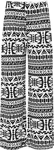 WearAll - Übergröße Damen Blumen Druck Weite Bein Palazzo Hosen - Aztec - 40-42