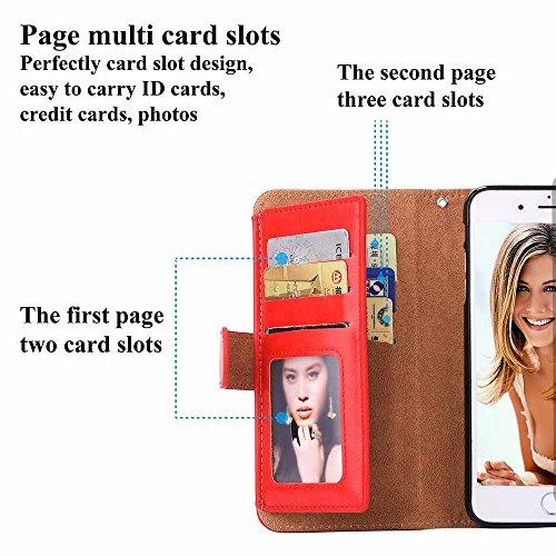 Custodia iPhone 5 / 5S / SE, COOSTOREEU Borsa con Zip in Pelle Premium PU con Cinturino da Polso Portafoglio Magnetico con Flip Side, Custodia Staccabile 2 in 1 con 5 Slot per Apple iPhone 5 / 5S / SE Rosso