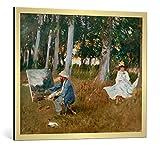 kunst für alle Bild mit Bilder-Rahmen: John Singer Sargent Claude Monet, am Waldrand malend - Dekorativer Kunstdruck, Hochwertig gerahmt, 90x75 cm, Gold Gebürstet