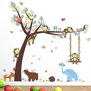 AWAKINK Cartoon Tree Lovely Animals Elephant Bird Bear Monkey Swing Wall Stickers Wall Decal Vinyl Removable Art Wall Decals for Girls and Boys Nursery Room Children's Bedroom
