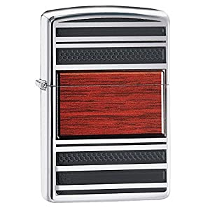 51OO%2BqeertL. SS300  - Zippo Steel and Wood Windproof Pocket Lighter - High Polish Chrome