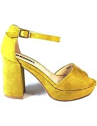 La Valenciana Sandalia Para Mujer Benini A8036 con Gran Tacón Cómodo y Plataforma, Cierre EN Hebilla Color Amarillo Mostaza