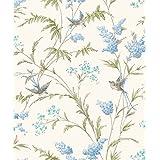 Holden Decor jazmín crema azul–Papel pintado con purpurina Pájaros Flores Follaje