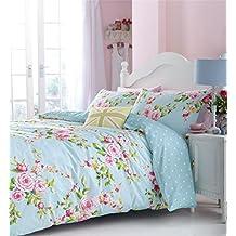Rosa azul Rosa Floral Mezcla De Algodón Doble Reversible 3piezas Juego de cama funda nórdica, huevo de pato azul sábana bajera ajustable y Plain pato huevo azul par de fundas de almohada