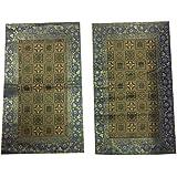 Boho Chic 2decorative Rectángulo funda de almohada vintage sari de seda cubierta de almohadas 30x 20(verde)