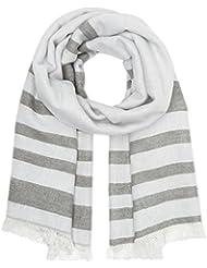TOM TAILOR Damen Stola Schal mit Streifen, Grau (Smoked Pearl Grey 2103), One size