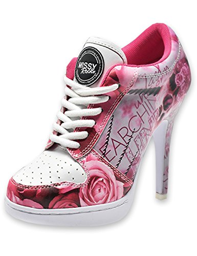 09d465c2c16666 MISSY ROCKZ Bequeme Sneaker High Heels Damenschuhe Last Unicorn pink weiß  mit 8