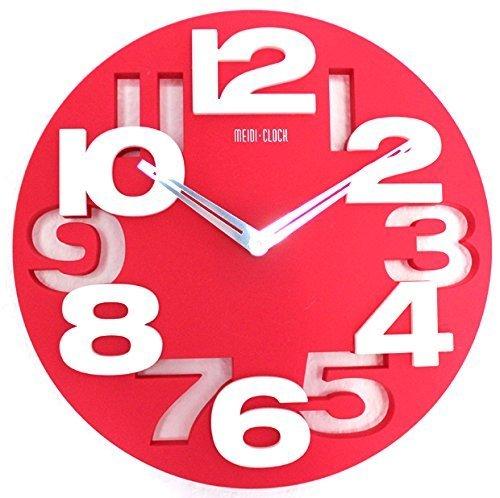 Design moderne de cuisine horloge murale radiocontrolée pilotée décoration silencieux lKU-rouge