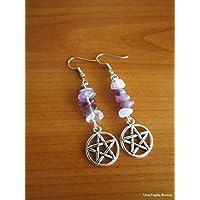 Orecchini con pentacolo perle ametista handmade