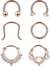 6 Styles 16 Gauge Anneau de Nez en Acier Inoxydable Septum Piercing Set Piercing de Bijoux de Corps